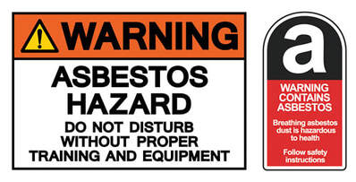 Asbestos disposal hazard signs